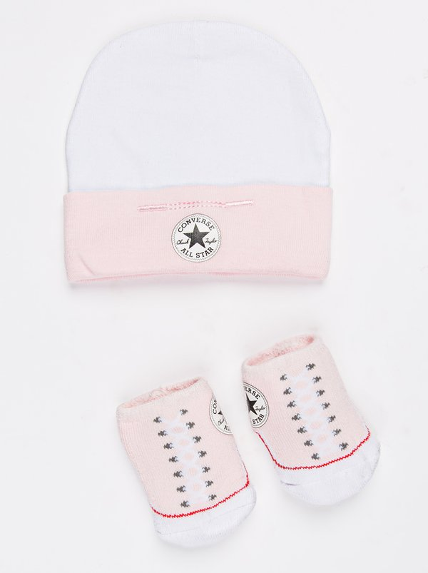 Converse 2 pack Hat & Booties set Pale Pink