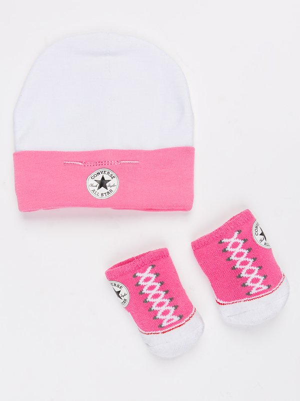 Converse 2 pack Hat & Booties set Mid Pink