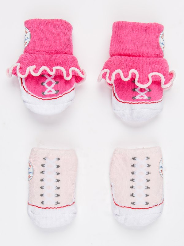 Converse 2 Pack Frilly Chuck Booties Mid Pink