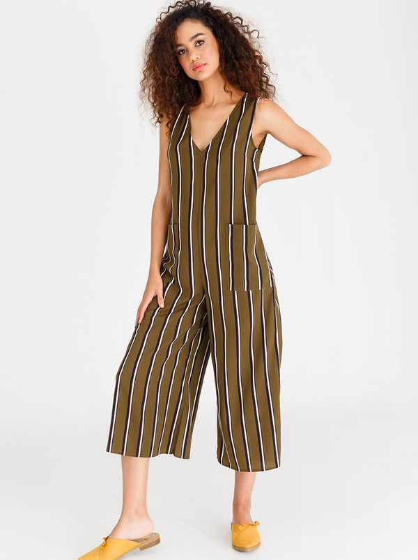 Wide Leg Striped Slouchy Jumpsuit Khaki Green | CRAVE