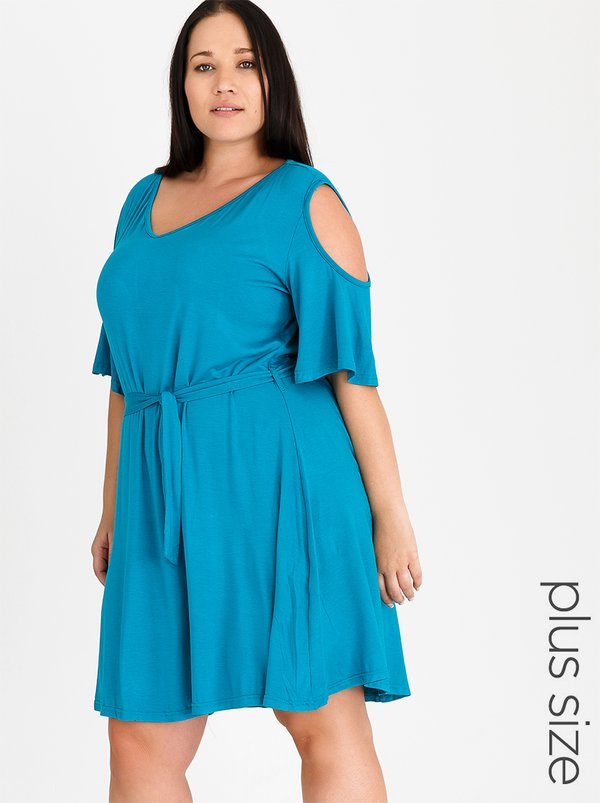 edit Plus Cold Shoulder Fit and Flare Day Dress Turquoise