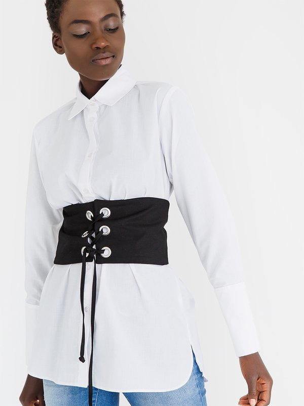 Shirt with Corset Detail White   STYLE REPUBLIC