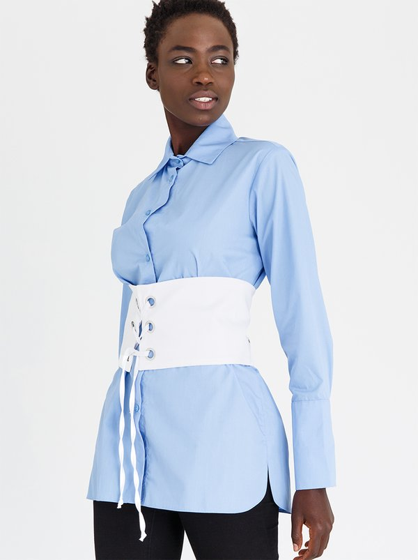 Shirt with Corset Detail Pale Blue   STYLE REPUBLIC