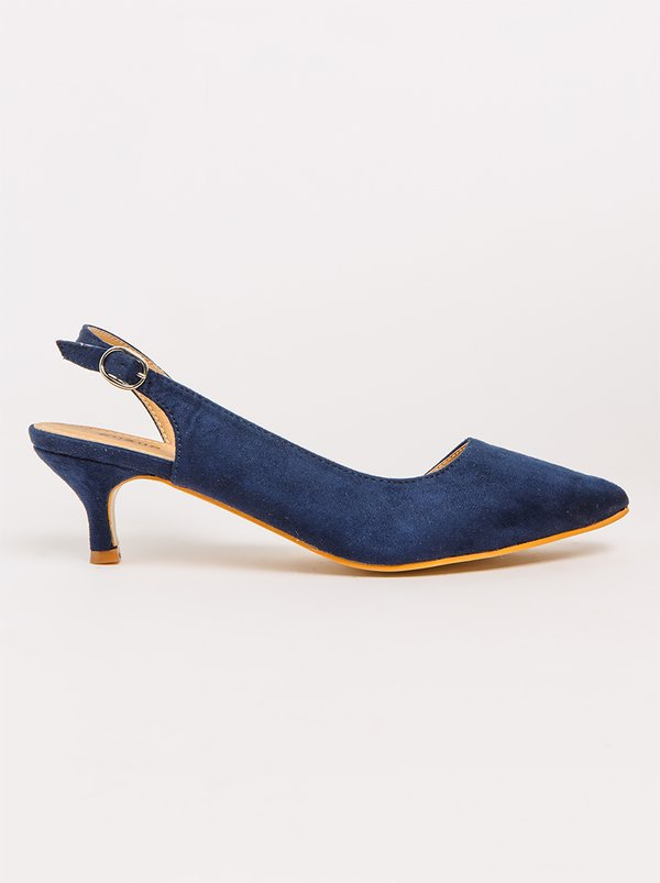 Queue Assymetrical Slingback Heels Navy