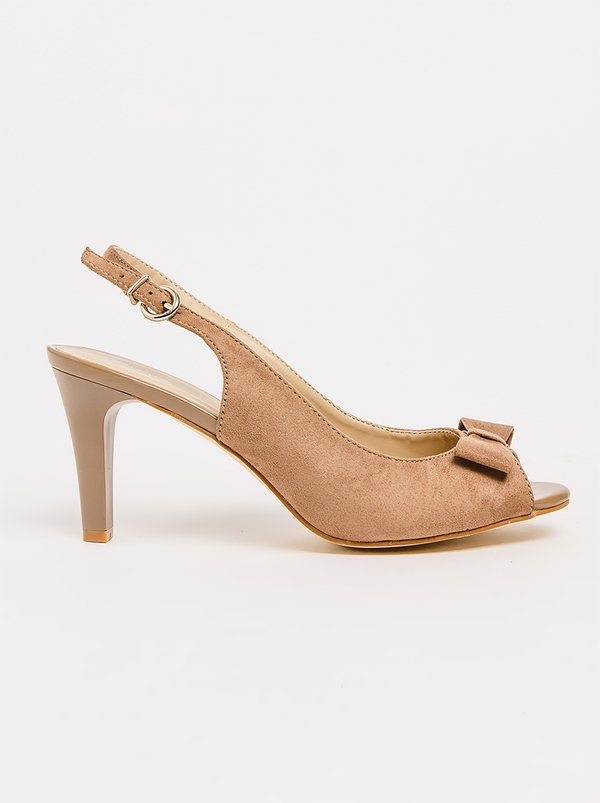 Queue Slingback Heels With Bow Trim Taupe