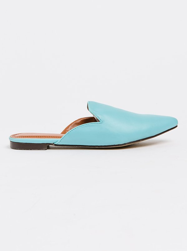 Turquoise Flat Shoes Women Pu Leather