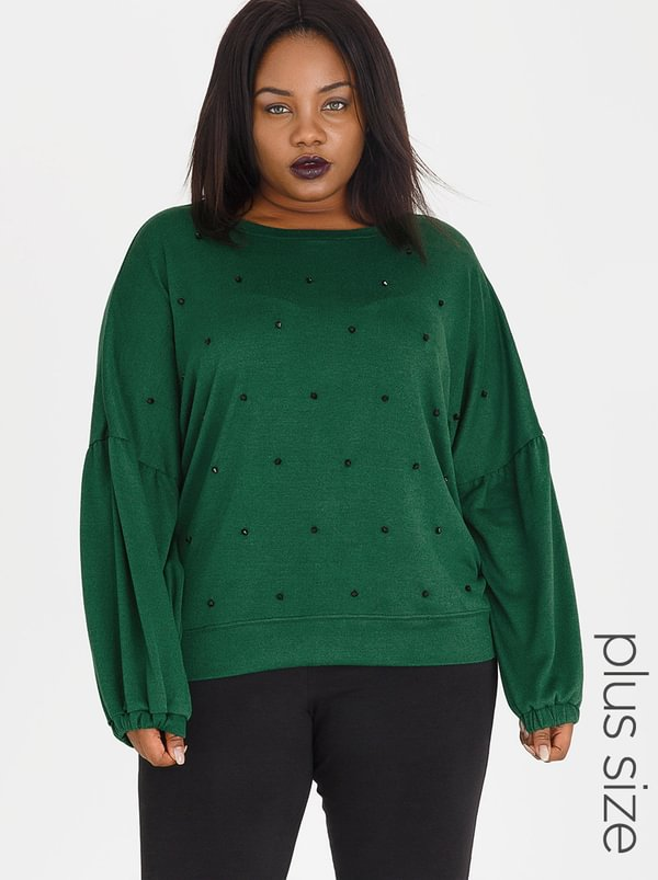 Marique Yssel Beaded Bishop Sleeve Sweatshirt Dark Green