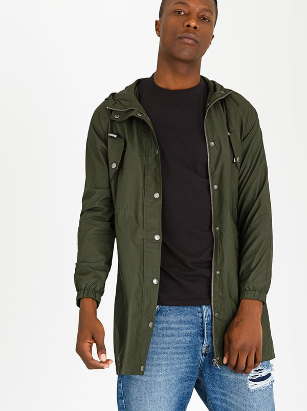 Essential Polyester Rain Jacket Khaki Green   STYLE REPUBLIC
