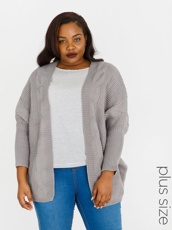Lu-May Cable Knit Batwing Cardi Grey