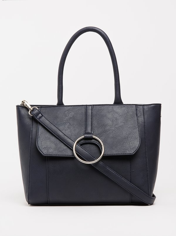 Queue Tote Handbag With Trim Detail Navy