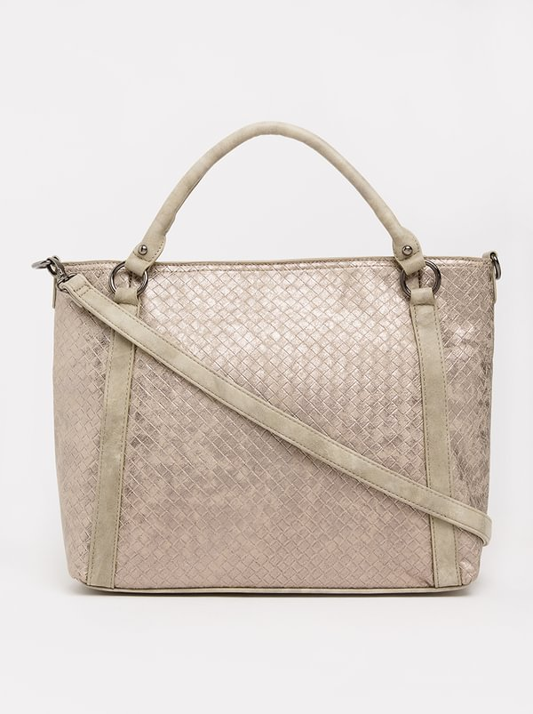 Queue Weaved Barrel Handbag Grey