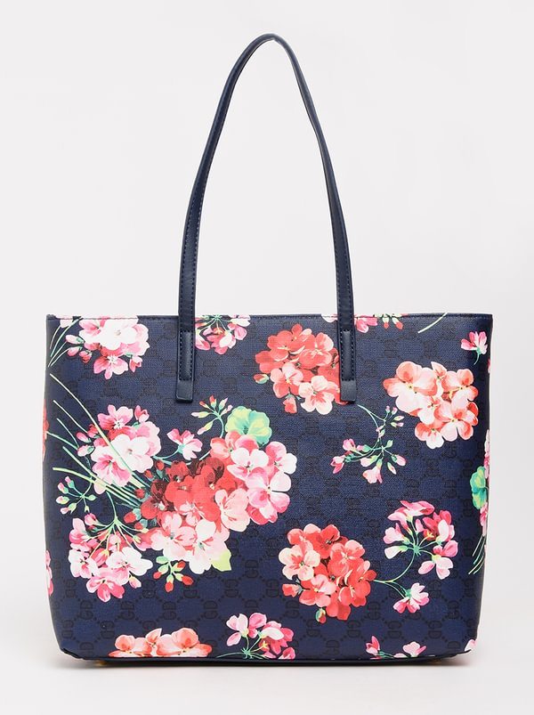 Queue Printed Tote Handbag Blue