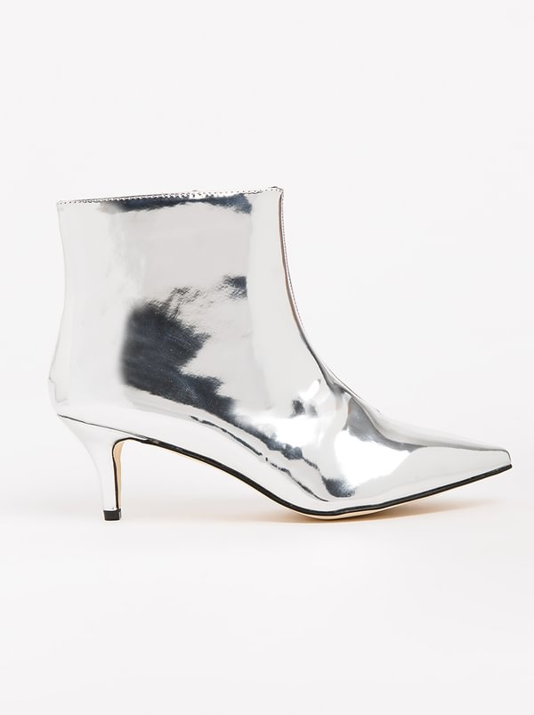 Whish Kitten Heel Booties Silver | FOOTWORK