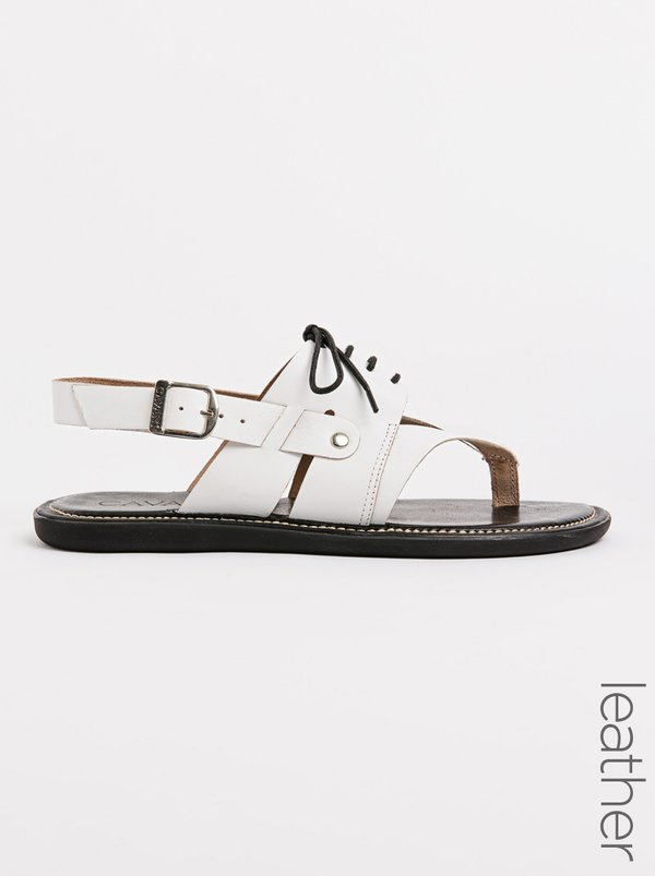 Franco Ceccato Lace Up Leather Toe Thong Sandals White