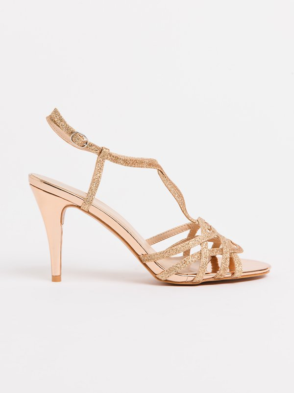 Franco Ceccato Alessio T-Bar Ankle Strap Heels Rose gold