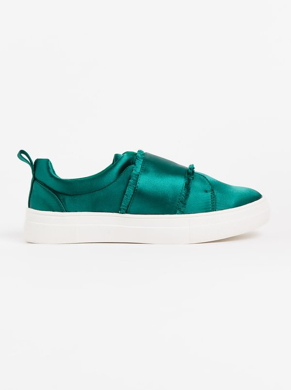 FOOTWORK Izza Satin Slip-On Sneakers Green