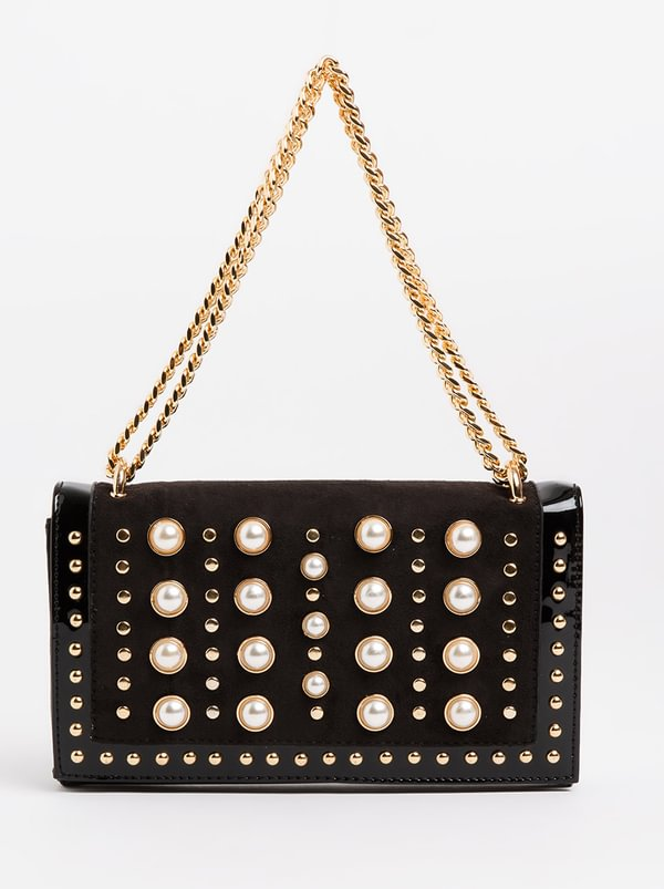 Pearl And Chain Clutch Bag Black and White | Queenspark
