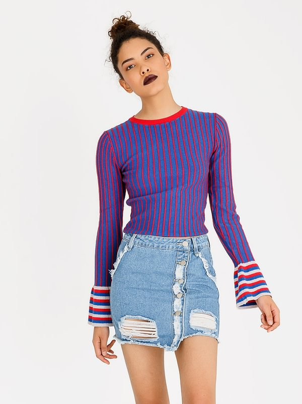 Sleeve Detail Jersey Blue | Forever21