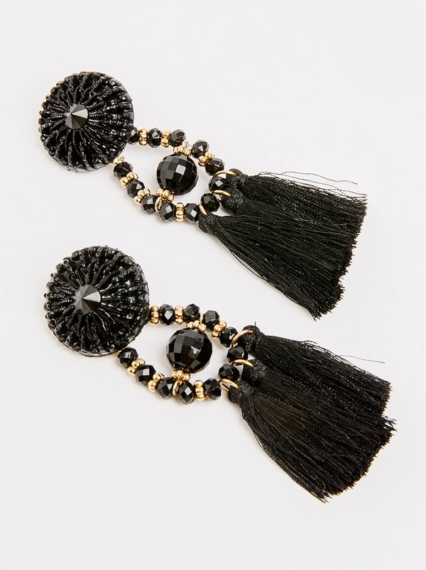 STYLE REPUBLIC Tassel Drop Earrings Black