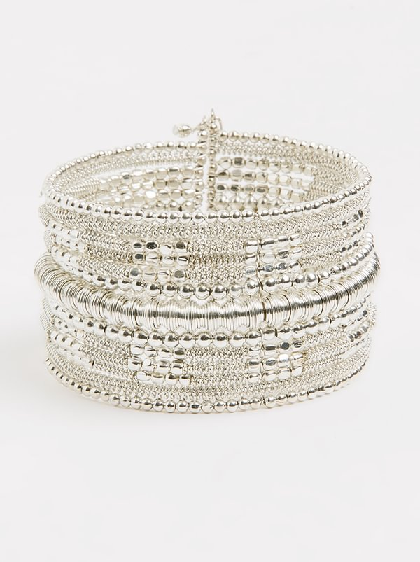 Beaded Bangle Silver | Joy Collectables