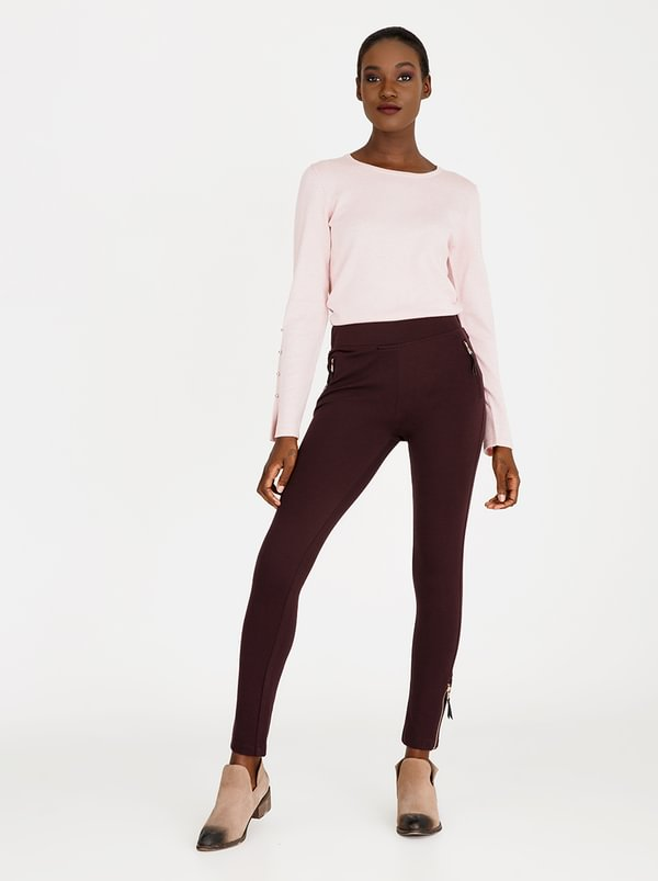 cath.nic Zip Detail Trousers Burgundy