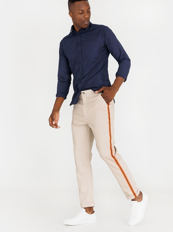 Straight Leg Chino With Tape On Leg Stone | Resist