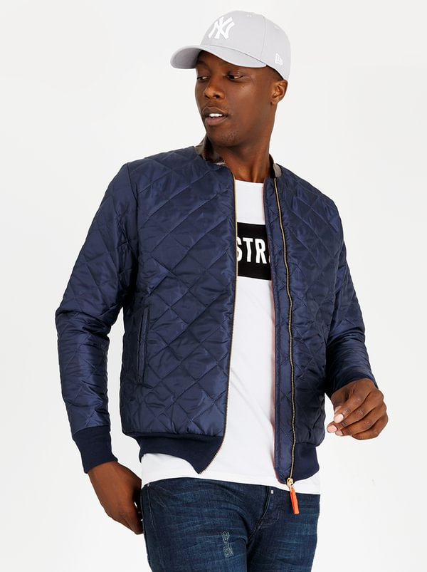 Resist Quilted Bomber Jacket Navy 9mx284z Spree