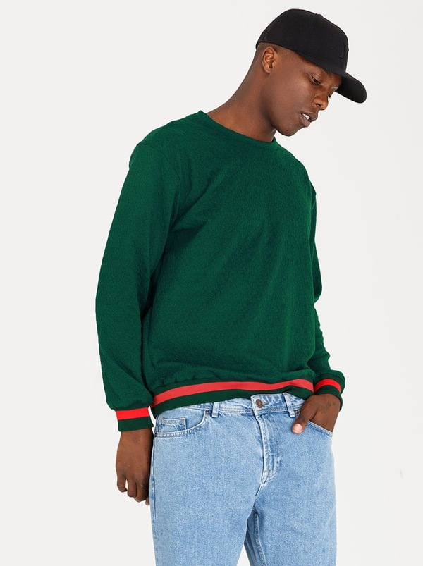Contrast Cotton Track Top Green | STYLE REPUBLIC
