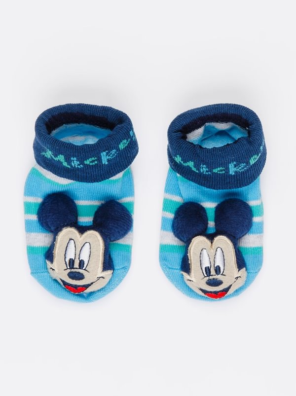 Character Baby Mickey Mouse Rattle Socks Multi Colour Ingp5w4