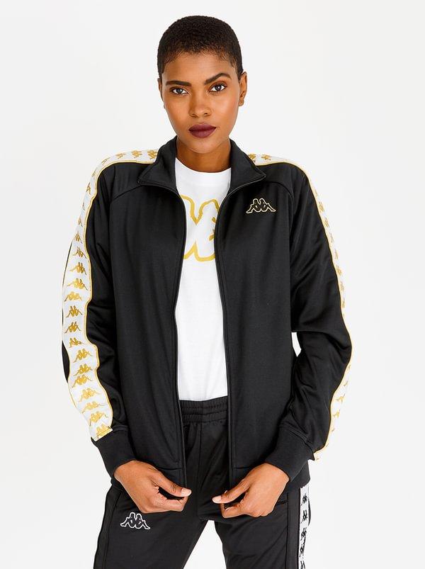 High Neck Track Jacket Black and White | KAPPA