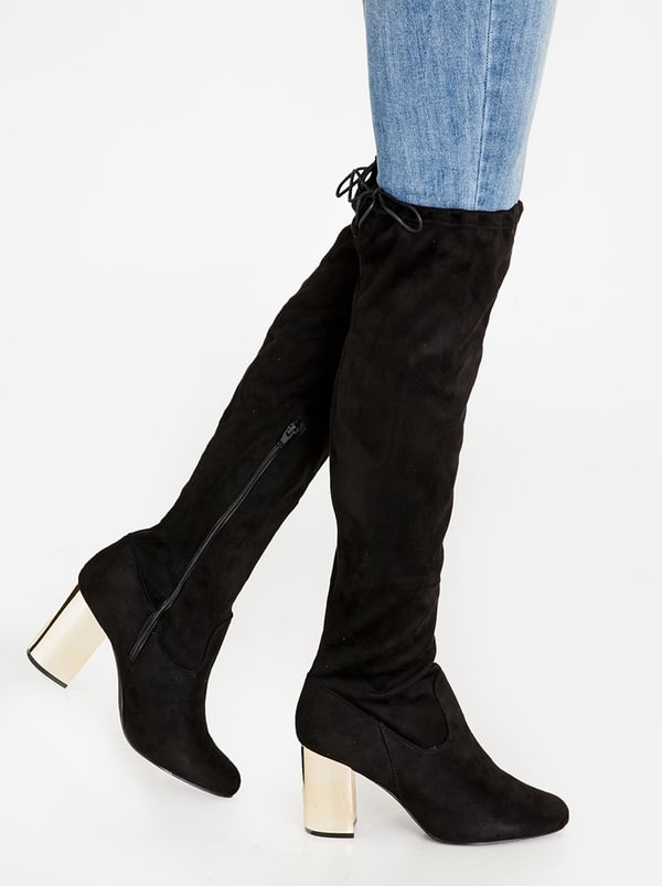 Madison Madison Lula Over The Knee With Metallic Heel Boots Black sale best place cheap footlocker pictures JvVJd9se