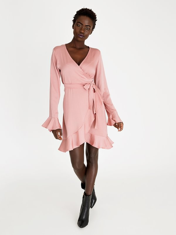 Frill Detail Wrap Dress Rose | c(inch)