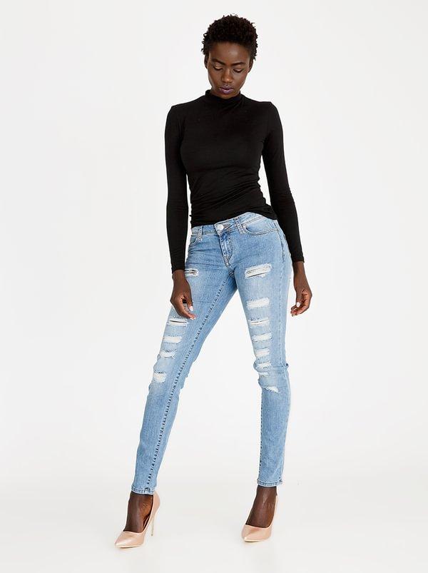 Ripped Skinny Jeans Pale Blue   SOVIET