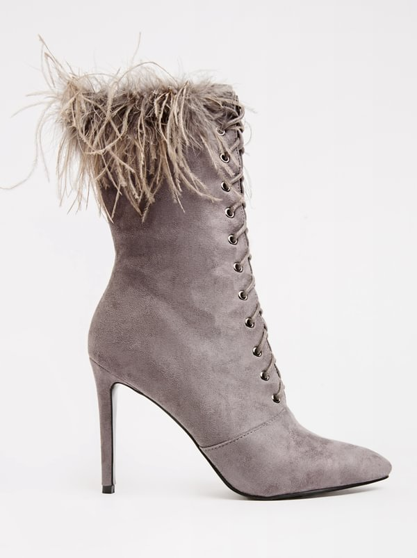 cheap sale outlet locations cheap newest Wild Alice by Queue Wild Alice by Queue Lace Up Boots With Feather Detail Grey cheap professional NDqEOEQsFS