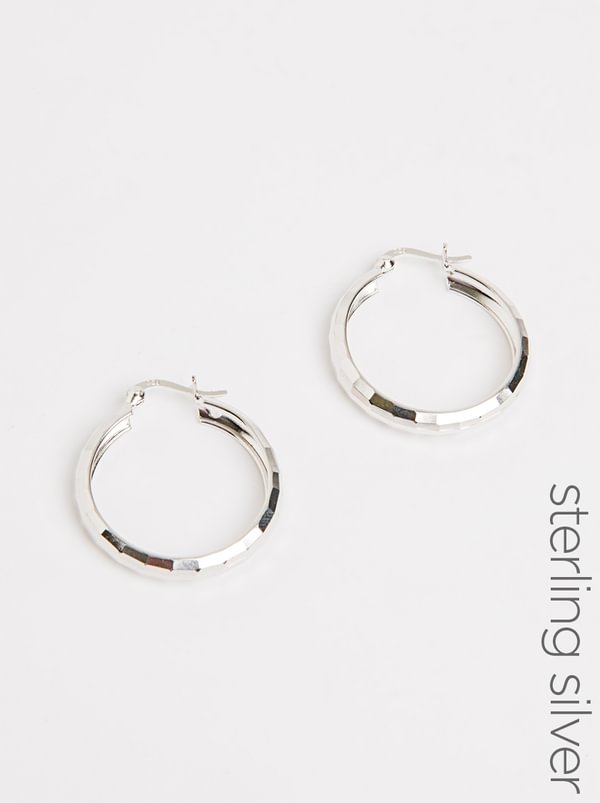 Sterling Silver Faceted Ultra Show Hoop Earrings Silver | edit