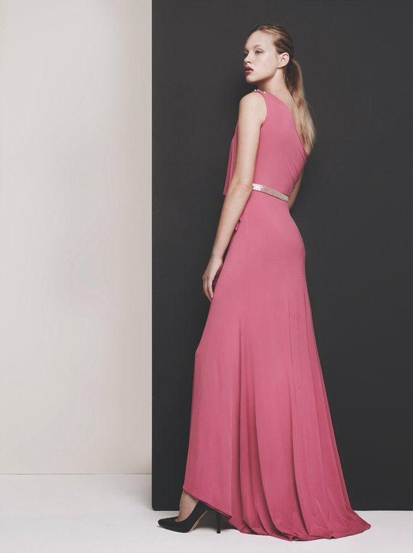 Gavin Rajah Cocktail One-shoulder Flap Dress Mid Pink Mid Pink ...