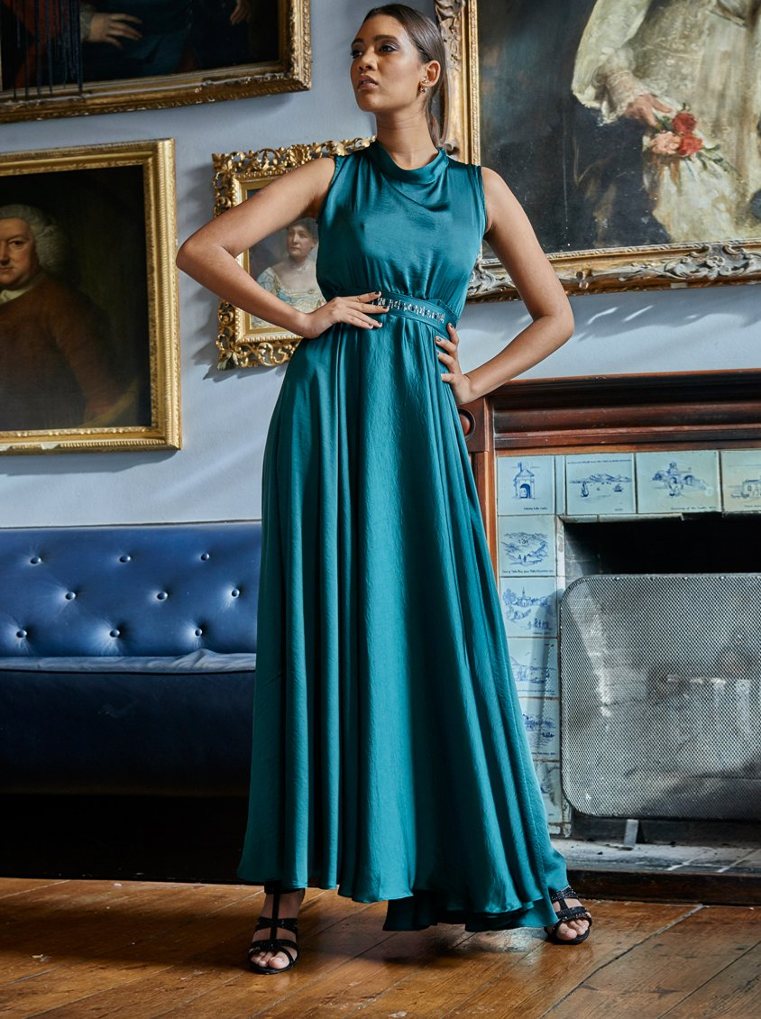 Gert-Johan Coetzee Satin Maxi Dress with Swarovski Belt Dark Green ...