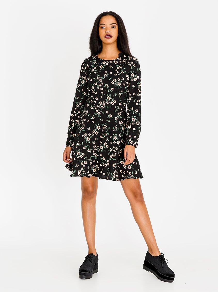 Brave Soul Floral Frilled Edge Dress Black