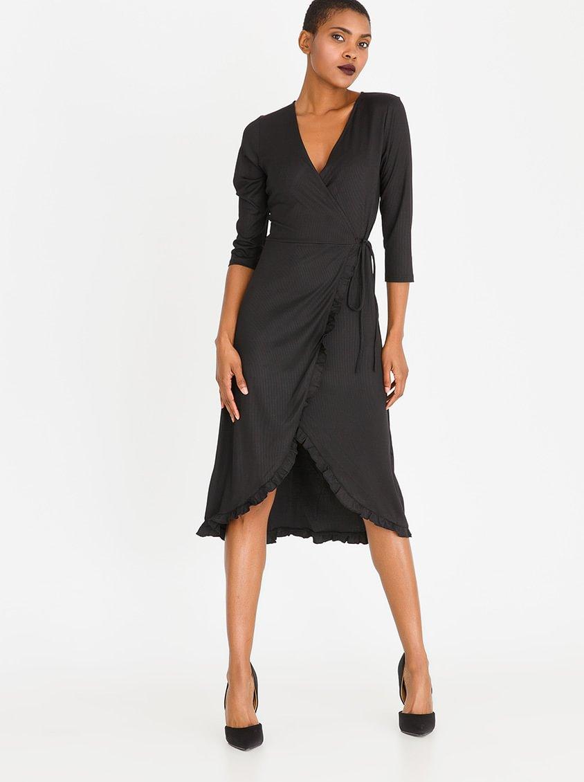 CRAVE 3/4 Sleeve Wrap Dress Black