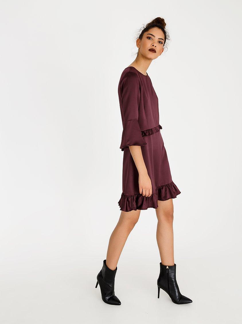 c(inch) Frill Detail Dress Burgundy