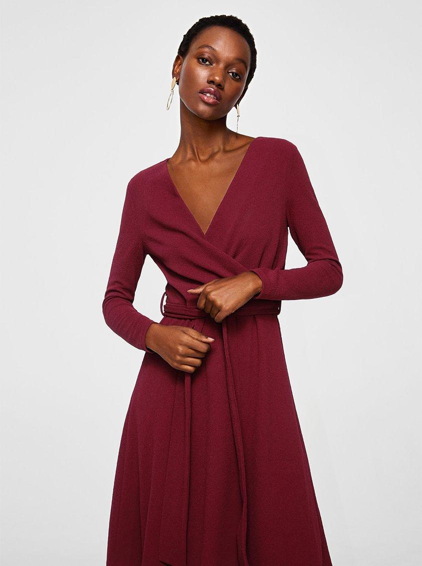 MANGO Wrap Neckline Dress Maroon