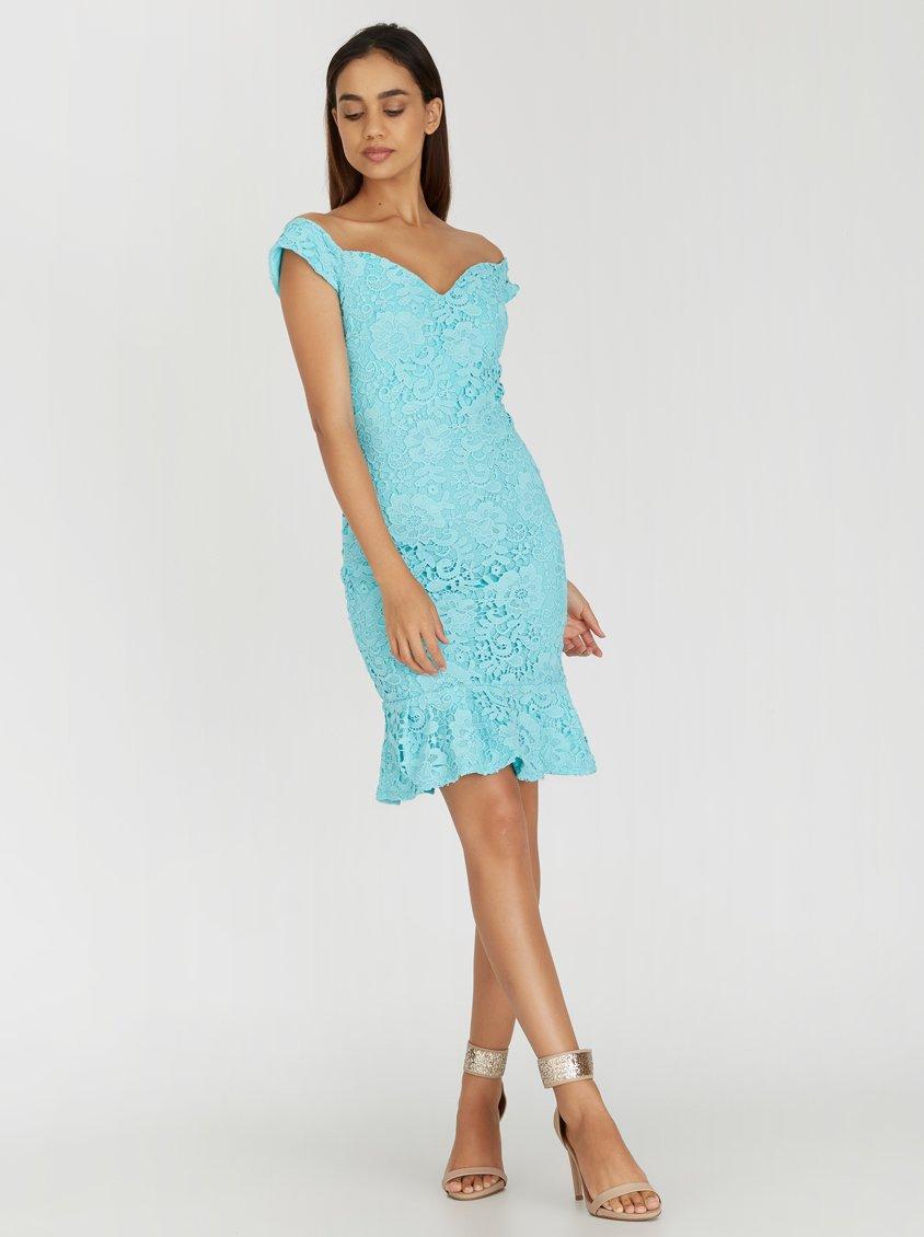 Paper Dolls Peplum Hem Bardot Dress Blue 3CM8OTU   spree.co.za