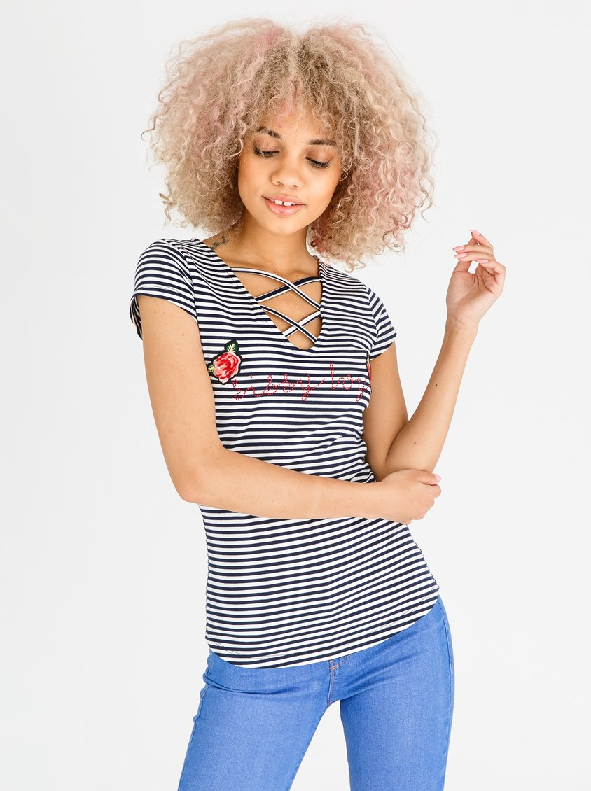 77d603fa7eb0f SISSY BOY Striped Lace-up Tee Navy   White
