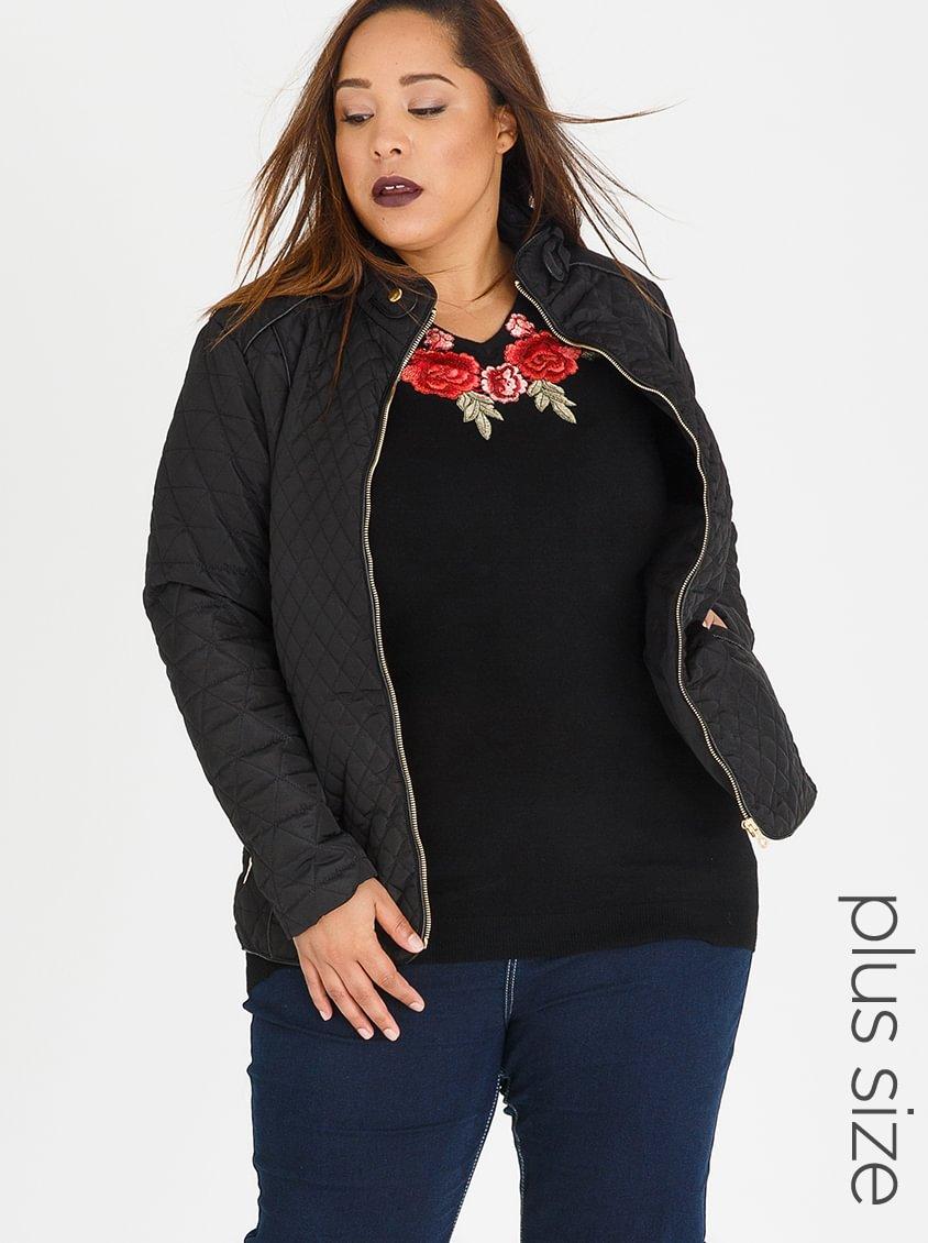 Queenspark Plus Quilted Puffer Longsleeve Jacket Black
