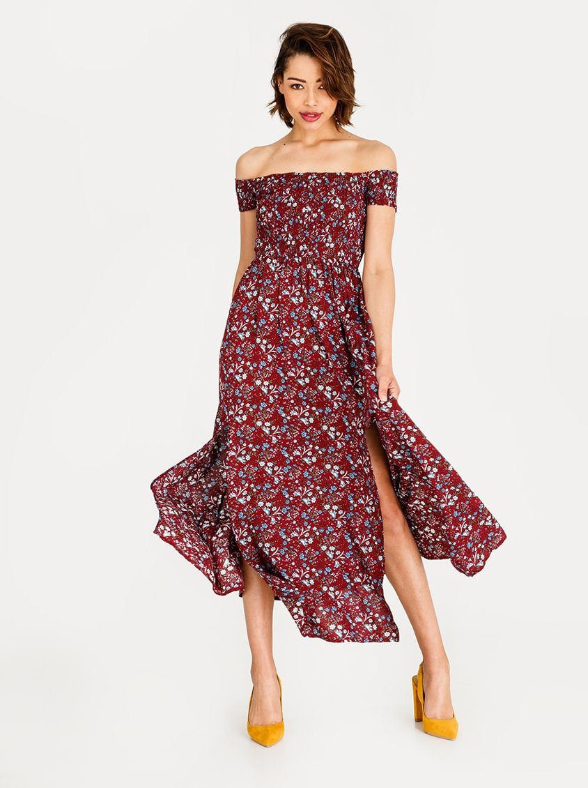 a8f6efdba2d0 Revenge Off Shoulder Maxi with Elasticated Bodice Red