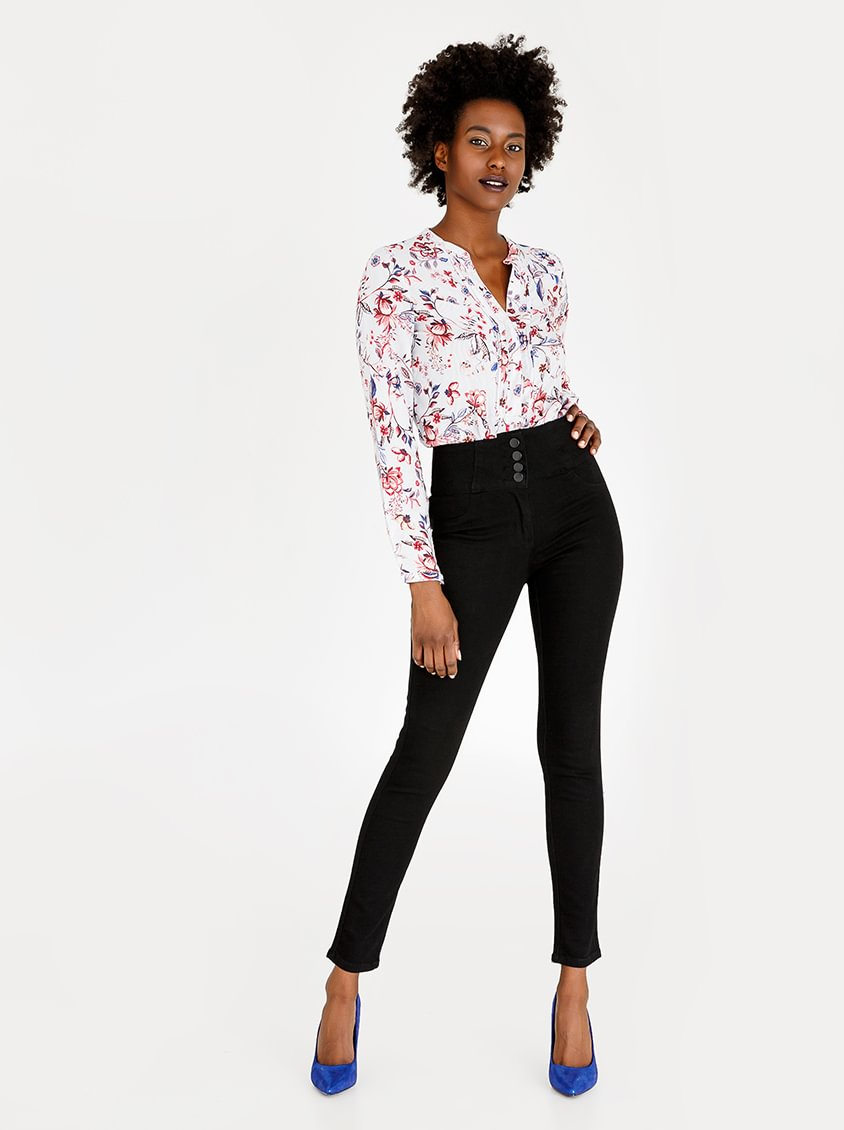 Contempo High Waisted Trousers Black