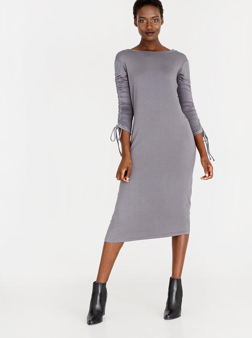 edit A-line Dress with Draw-chord Sleeve Grey