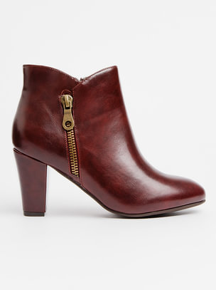 Quick View. Ankle Boots with Zip Detail Burgundy