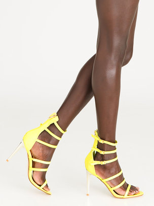 genuine online best store to get cheap online Frayed Trim High Heels Yellow edit outlet pre order 05QKn7VB