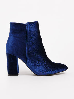 Ruco Embossed Velvet Ankle Boots Navy Plum outlet choice cheap professional WAkkJsgZ3